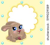 cute card with fun bunny.... | Shutterstock .eps vector #599029589