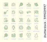sauna  steam bath line icons.... | Shutterstock .eps vector #599029997