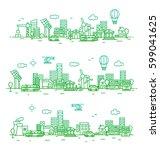 city landscape illustration.... | Shutterstock .eps vector #599041625