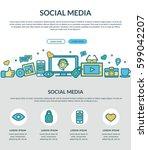 social media concept for web... | Shutterstock .eps vector #599042207