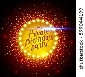 private birthday party brush... | Shutterstock .eps vector #599044199