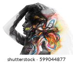 dark skinned woman's portrait...   Shutterstock . vector #599044877