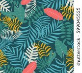 tropical background with palm... | Shutterstock .eps vector #599045525