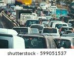 traffic jam collapse  cars on... | Shutterstock . vector #599051537