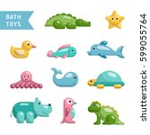 a set of baby bath toys... | Shutterstock .eps vector #599055764