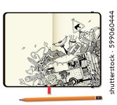 vector notebooks with pencil... | Shutterstock .eps vector #599060444