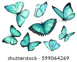 Stock photo a set of flying turquoise butterflies watercolor illustration 599064269