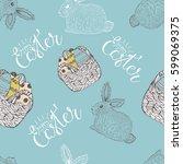 easter seamless pattern design... | Shutterstock .eps vector #599069375