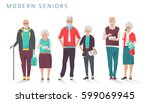 set of modern senior business... | Shutterstock .eps vector #599069945