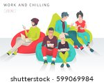 young people sit on bean bag... | Shutterstock .eps vector #599069984