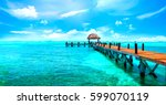 exotic paradise. travel ... | Shutterstock . vector #599070119