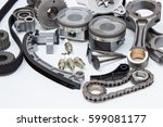 group automobile engine parts...   Shutterstock . vector #599081177