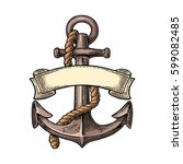anchor with ribbon and rope... | Shutterstock .eps vector #599082485