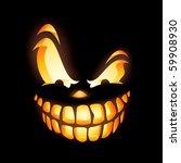 scary jack o lantern in the dark | Shutterstock .eps vector #59908930