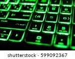 the green fluorescent computer... | Shutterstock . vector #599092367
