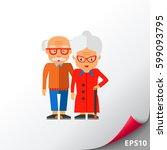 elderly people vector icon | Shutterstock .eps vector #599093795