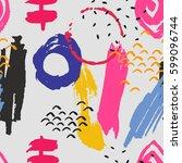 brush stroke seamless pattern.... | Shutterstock .eps vector #599096744