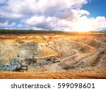 aerial view of opencast mining... | Shutterstock . vector #599098601