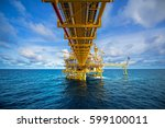 offshore oil and gas rig... | Shutterstock . vector #599100011