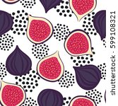 seamless figs pattern with... | Shutterstock .eps vector #599108321