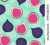 figs pattern on mint green... | Shutterstock .eps vector #599108345