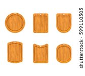 wooden cutting board icon set... | Shutterstock .eps vector #599110505