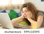 sleepy student with tousled... | Shutterstock . vector #599110595