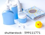 baby organic cosmetic for bath... | Shutterstock . vector #599111771