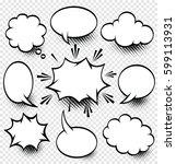 a set of comic speech bubbles... | Shutterstock .eps vector #599113931