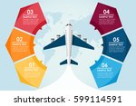 airplane circle infographic... | Shutterstock .eps vector #599114591