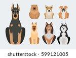 funny cartoon dog character... | Shutterstock .eps vector #599121005