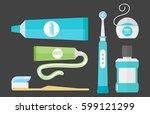 flat health care dentist... | Shutterstock .eps vector #599121299