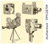 photo movie or film camera... | Shutterstock .eps vector #599128709
