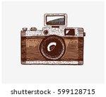 photo camera vintage  engraved... | Shutterstock .eps vector #599128715
