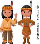 cartoon couple native indian... | Shutterstock .eps vector #599133704