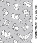 seamless origami pattern with... | Shutterstock .eps vector #599139401