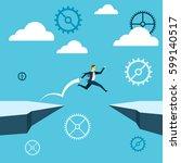jumping. businessman jump over... | Shutterstock .eps vector #599140517
