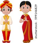 cartoon indian couple wearing... | Shutterstock .eps vector #599146829