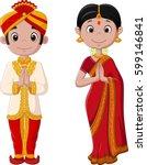cartoon indian couple wearing... | Shutterstock . vector #599146841