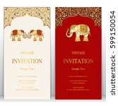 indian invitation card... | Shutterstock .eps vector #599150054