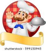 cartoon chef holding platter...   Shutterstock .eps vector #599150945