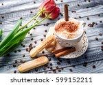 lovely latte macchiato on a...   Shutterstock . vector #599152211