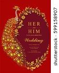 indian wedding invitation card... | Shutterstock .eps vector #599158907