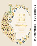 indian wedding invitation card... | Shutterstock .eps vector #599158931