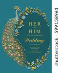 indian wedding invitation card... | Shutterstock .eps vector #599158961