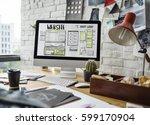 website development layout... | Shutterstock . vector #599170904