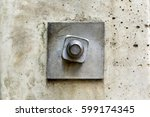Small photo of nut and bolt is used for electric poles, concept of adherence and firmness