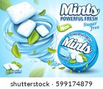 mint flavor gum ad with leaf... | Shutterstock .eps vector #599174879