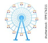 ferris wheel fun park in white... | Shutterstock .eps vector #599176211