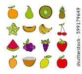 icon set of healthy fruits over ... | Shutterstock .eps vector #599179649